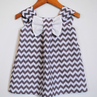 Big Bow Dress, Chevron Grey, Blue, Toddler, Girl Clothing, Modern, Spring, Summer, Special Occasion Outfit, Birthday Party, Size 1T - 8