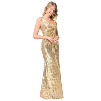 Bright Golden Color Sleeveless V-neck Long Bridesmaid Party Dress