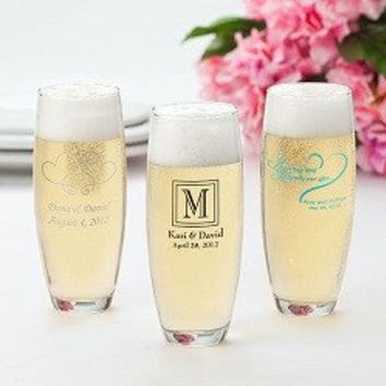 Stemless Printed Champagne Flutes - 24 Piece Set - Design Set 1