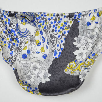 Damsel 100% Silk Granny Panties - Full Bottom Brief Lingerie in Fantasy Print of Blue, Gray, Yellow, and White Maiden with Stars and Flowers