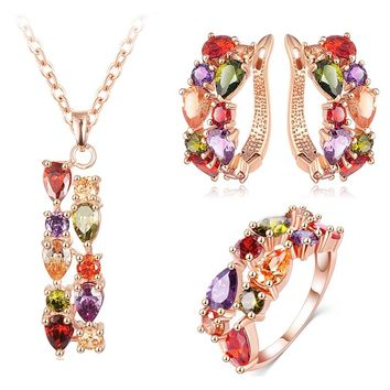 Rose Gold Color Flower Jewelry Set