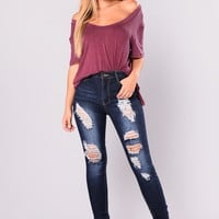 Adrial Distressed Jeans - Dark Denim