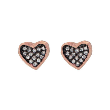 Silver Pink Rhodium Plated Satin Finish Black Rhodium Inside Cz  Heart Shape Stud Earrings