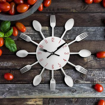 Modern Silver Cutlery Kitchen Wall Clock