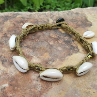 Hemp Anklet, Cowrie Shell Anklet, Hemp Jewelry, Handmade Anklet, Summer Jewelry, Shell Anklet, Hemp Jewelry, Gift for Her, Beach Wedding