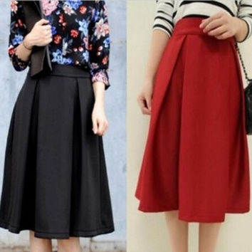 High Waist Slim Saia Feminino Retro Knee Length Skirt = 1876651588
