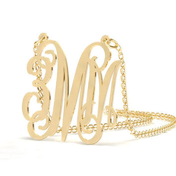 Gold Plated,Monogram Necklace,initial jewelry , Christmas gift,18k Gold Plated Necklace,name Necklace,Personalized Monogram,Sterling silver