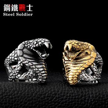 Steel soldier Super Fashion Stainlesss Steel Personality Jewelry Punk Unique Snake Ring