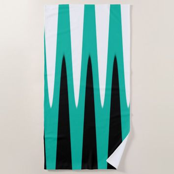 Wave Design Teal Beach Towel