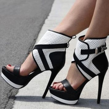 White/Black Leather  High Platform Sandals Open Toe Ankle Buckle High Heels