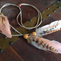 Coral Peach Bohemian Feather Headband, Tan Leather Head Wrap, Wooden Beads - hippie hair accessories