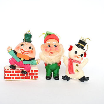 Vintage Christmas Ornaments Plastic Flocked Mid Century Japan Humpty Dumpty Elf Gnome Snowman Holiday Decorations