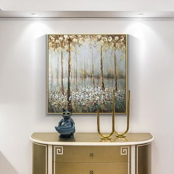 Gold art tree painting abstract flower Modern art paintings on canvas original art heavy texture Wall Pictures home decor cuadros abstractos