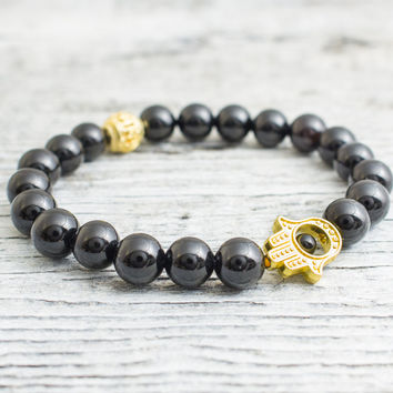 Black onyx beaded stretchy gold Hamsa hand bracelet, custom made yoga bracelet, mens bracelet, womens bracelet