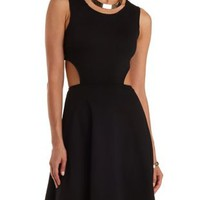Black Open Back Cut-Out Skater Dress by Charlotte Russe