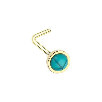 Golden Bezel Set Synthetic Turquoise Stone WildKlass L-Shape Nose Ring