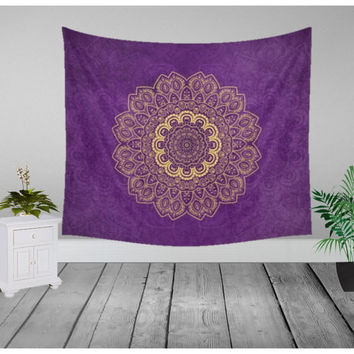 Wall Tapestry - Gold Temptation on Purple - Home Decor - Wall Decor, Modern, Home Warming Gift, Symmetry, Harmony, Bohemian, Boho