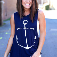 Navy Sleeveless Anchor Boat Hook Print T-Shirt