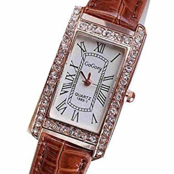 Gogoey Rhinestone Womens Rectangular Watch with Brown Leather Band
