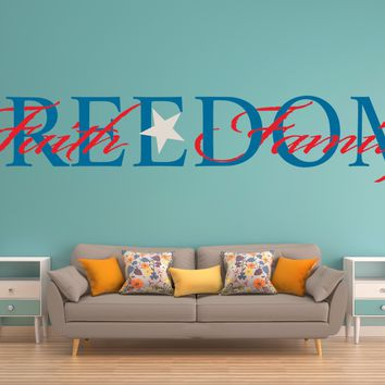 Freedom Faith Family Red White Blue Wall Art Decal Sticker