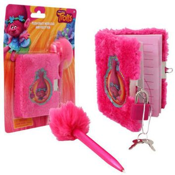 Trolls Plush Diary with Lock And Fuzzy Pen - CASE OF 48
