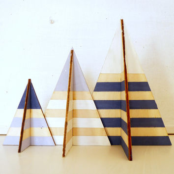 3 striped teepees. Plywood 3D tents painted white, light blue and slate blue.