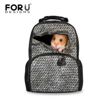 Cool Backpack school FORUDESIGNS Grey Cute Animal School Bag Large Felt Laptop Backpack for Students Cool College 3D Cat Bookbag Schoolbags AT_52_3