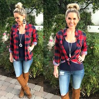 Penny Plaid Flannel Top: Red/Navy