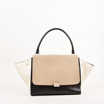 "Celine Taupe, Black, and Cream Leather ""Medium Trapeze"" Color Block Tote Bag"