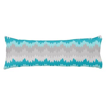 Teal Turquoise Blue Grey Gray Chevron Ombre Fade Body Pillow