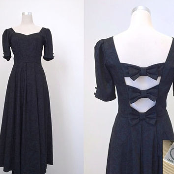 Vintage Laura Ashley  - Black Vintage Gown - 1980's - English Gothic Dress
