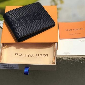 ABDCCK Supreme x Louis Vuitton Black wallet