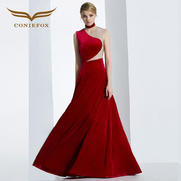 CONIEFOX 2016 WINTER PANDORA COLLECTION RED AND NAVY VELVET PROM LONG SPECIAL OCCASION DRESS 38282 PROM DRESSES  Xmas dress