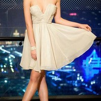 Beige Chiffon Dress with Plunging Neckline&Bound Waist