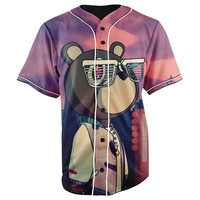 Kanye West Graduation Bear Purple Button Up Baseball Jersey
