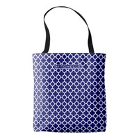 Personalized Blue Quatrefoil Tote Bag