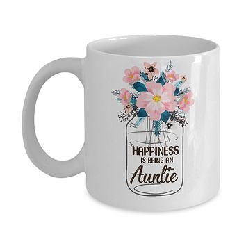 Happiness Is Being An Auntie Life Flower Auntie Gifts Mug