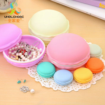 New Fashion Cute Sweet Macarons Storage Box Candy Color For Jewelry Earring Outing Boxes Living Essential