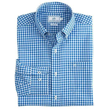 Classic Gingham Sport Shirt in Cobalt Blue by Southern Tide