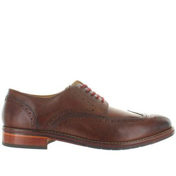 CREYONIG Florsheim Salerno Wing Ox - Cognac Leather Perforated Wing Tip Oxford