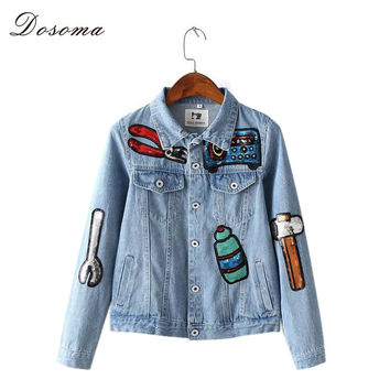 Sequins Embroidery Cartoon Denim Bomber Jacket  2016 European Harajuku Style Slim Women Denim Jacket Fashion Vintage Jean Coat