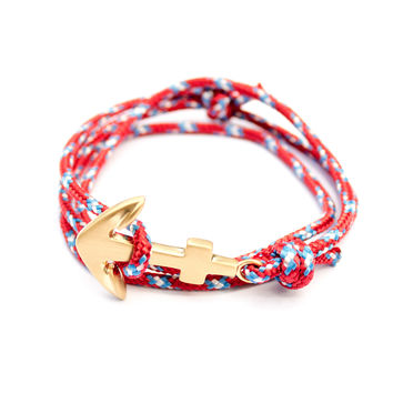Brushed Gold Anchor on Rebel Cord
