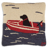 Sea Dog Hand Hooked Wool Pillow