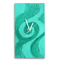 Unique WALL CLOCK, Art wall clock, mint clock, Wood wall clock, wave, mint home decor, beach decor, mint teal