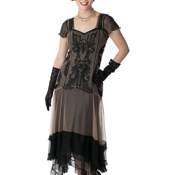 Black Beige Embroidered Chiffon Tulle Tango Dress