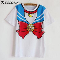 Keelorn 2017 new Hot Sailor moon harajuku t shirt women cosplay costume top kawaii fake sailor t shirts girl new Free Shipping