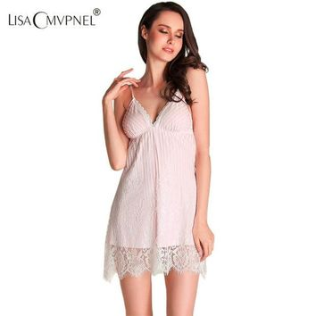 DCCKF4S Lisacmvpnel Lace Sexy Women Nightgown Deep V Spaghetti Strap chiffon Female Nightwear Elegant Women Homewear Nightdress