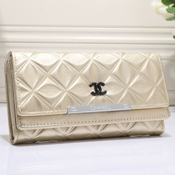 CHANEL Women Leather Buckle Wallet Purse