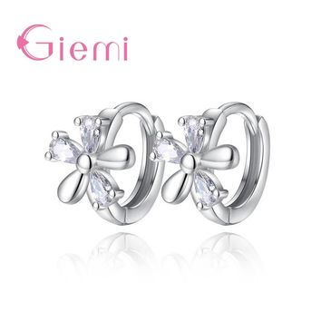 GIEMI 925 Sterling Silver Classic Square Austrian Crystal Stone Earrings Bridal Wedding Ceremony Propose Jewellery