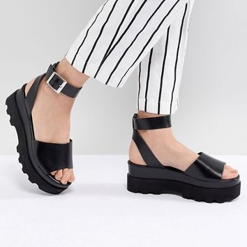 ASOS DESIGN Temple Leather Flatform Sandals at asos.com